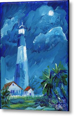 Metal Print featuring the painting Tybee Lighthouse Night Mini by Doris Blessington