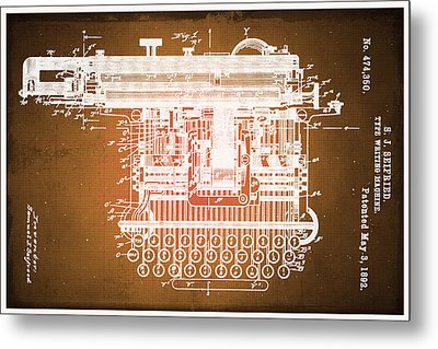 Type Writing Machine Patent Blueprint Drawings Sepia Metal Print