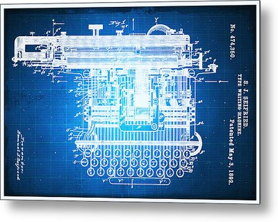 Type Writing Machine Patent Blueprint Drawing Metal Print
