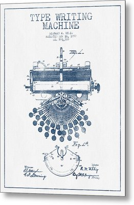 Type Writing Machine Patent Drawing From 1897 - Blue Ink Metal Print