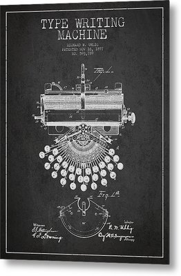 Type Writing Machine Patent Drawing From 1897 - Dark Metal Print