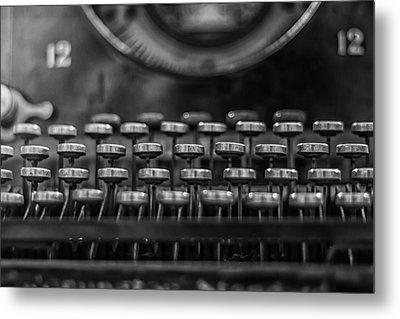Typewriter Keys In Black And White Metal Print by Georgia Fowler