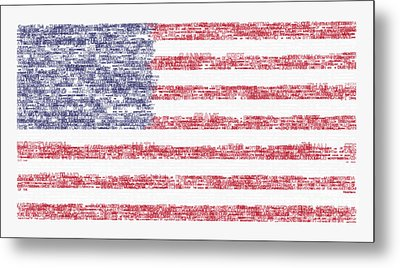 Star Spangled Banner Typography Us Flag Metal Print by Celestial Images