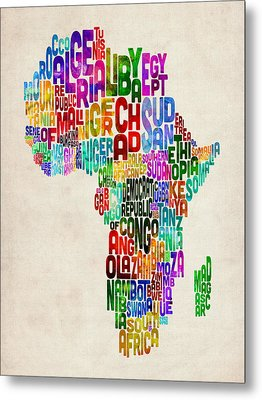 Typography Map Of Africa Metal Print by Michael Tompsett