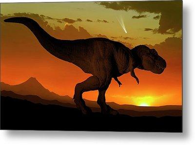 Tyrannosaurus And Comet Metal Print by Mark Garlick