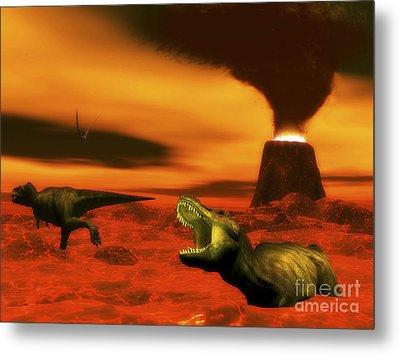 Tyrannosaurus Rex Dinosaurs Struggle Metal Print by Elena Duvernay