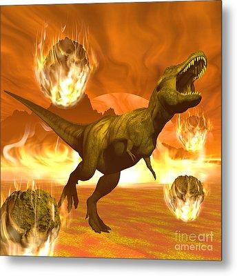 Tyrannosaurus Rex Struggles To Escape Metal Print by Elena Duvernay