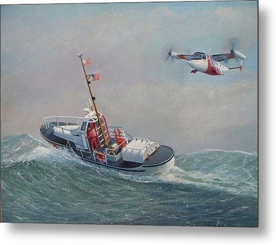 U. S. Coast Guard 44ft Motor Lifeboat And Tilt-motor Aircraft  Metal Print by William H RaVell III