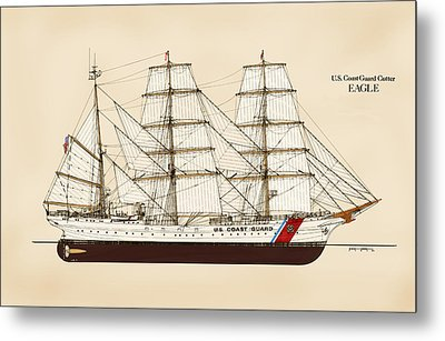 U. S. Coast Guard Cutter Eagle - Color Metal Print by Jerry McElroy - Public Domain Image