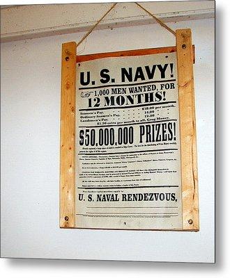 U. S. Navy Men Wanted Metal Print by Pamela Hyde Wilson