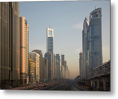 Uae, Dubai Towers Along Sheik Zayed Metal Print by Jaynes Gallery