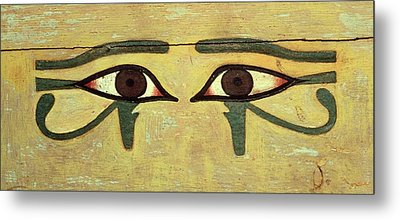 Udjat Eyes On A Coffin, Middle Kingdom Wood & Paint Metal Print by Egyptian 12th Dynasty