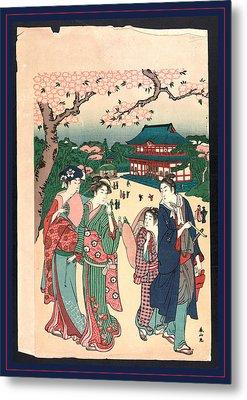 Ueno No Hanami, Cherry Blossom Viewing At Ueno Metal Print