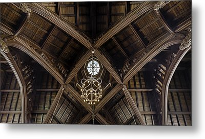 Uf University Auditorium Vaulted Wooden Arches Metal Print by Lynn Palmer