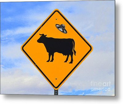 Ufo Cattle Crossing Sign In New Mexico Metal Print by Catherine Sherman