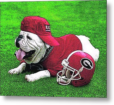 Uga With Helmet T-shirt Metal Print by Herb Strobino