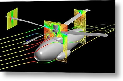 Uh-60 Helicoptor Simulation Metal Print