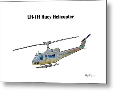 Uh-ih Huey Helicopter Metal Print by Barry Jones