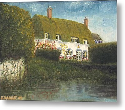 Metal Print featuring the painting Uk Cottage by Diane Daigle