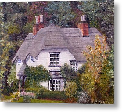 Metal Print featuring the painting Uk Thatched Cottage by Diane Daigle