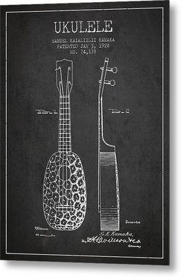 Ukulele Patent Drawing From 1928 - Dark Metal Print by Aged Pixel