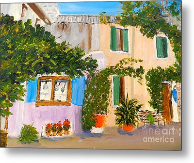 Metal Print featuring the painting Umbera Courtyard by Pamela  Meredith
