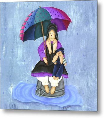 Umbrella Bunny Metal Print by Tracy Campbell