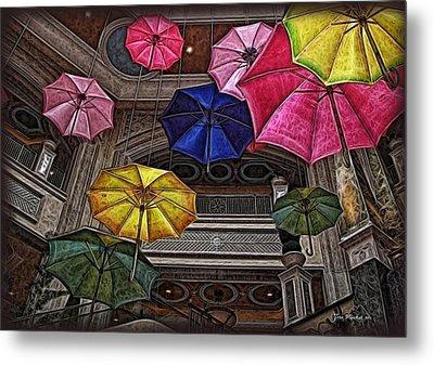 Umbrella Fun Metal Print by Joan  Minchak