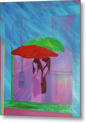 Metal Print featuring the painting Umbrella Girls by First Star Art