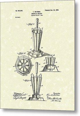 Umbrella Holder 1900 Patent Art Metal Print by Prior Art Design