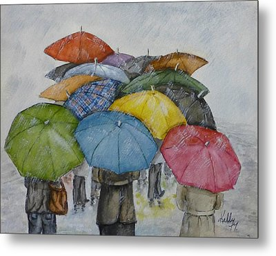 Umbrella Huddle Metal Print by Kelly Mills
