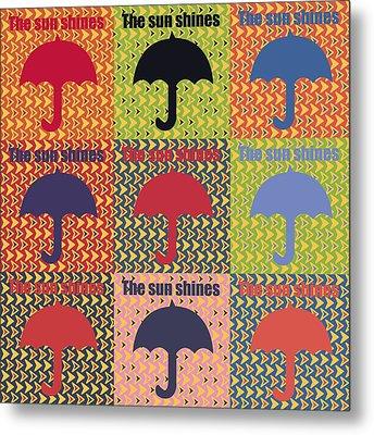 Umbrella In Pop Art Style Metal Print