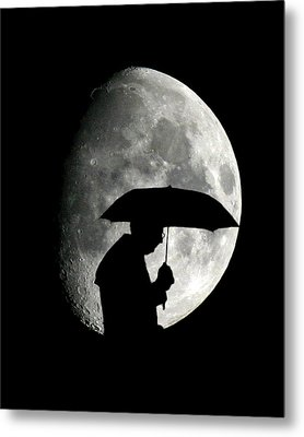 Umbrella Man With Moon Metal Print by Christopher McKenzie