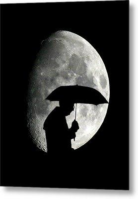 Umbrella Man With Moon Metal Print