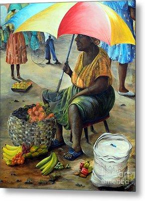 Umbrella Woman Metal Print by Anna-Maria Dickinson