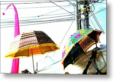 Metal Print featuring the photograph Umbrellas And Wires by Marianne Dow