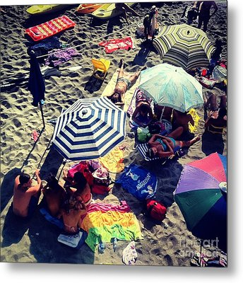 Umbrellas At The Beach Metal Print by H Hoffman