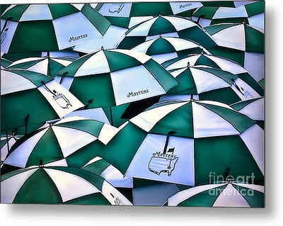 Umbrellas At The Masters Metal Print by Walt Foegelle