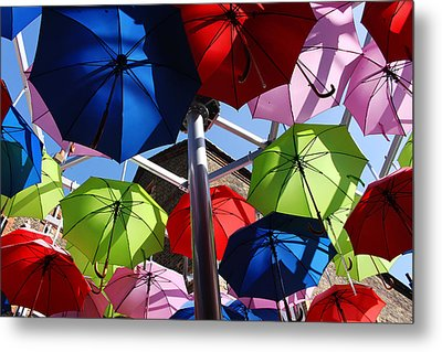 Umbrellas In The Sky Metal Print by Nicky Jameson