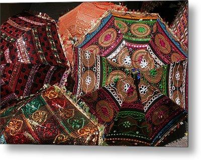 Umbrellas In The Textile Souk  Metal Print by Kathy Peltomaa Lewis