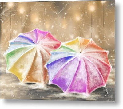 Umbrellas Metal Print by Veronica Minozzi