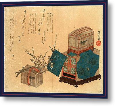 Ume Ni Kago No Uguisu Metal Print