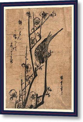 Ume Ni Uguisu, Bush Warbler On A Plum Branch Metal Print
