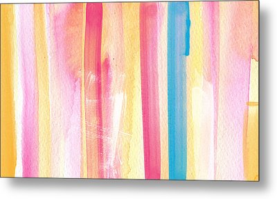Umrbrella Stripe- Contemporary Abstract Painting Metal Print by Linda Woods
