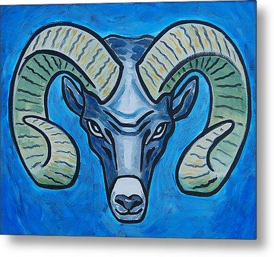 Ram With Sky Blue Metal Print
