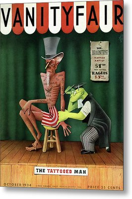 Uncle Sam Being Tattooed Metal Print by Paolo Garretto