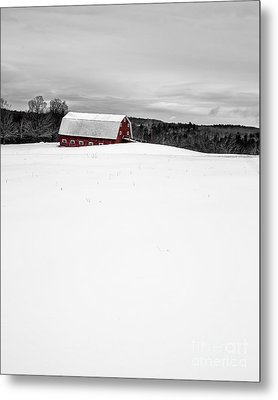 Under A Blanket Of Snow Christmas On The Farm Metal Print by Edward Fielding