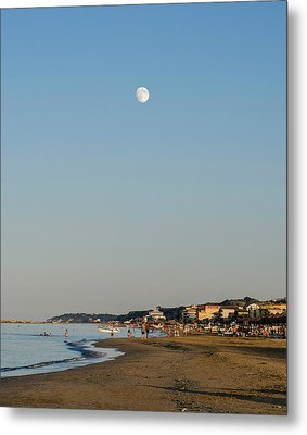 Sunset On The Beach - Under A Glass Moon Metal Print by Andrea Mazzocchetti