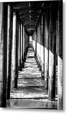 Under Huntington Beach Pier Black And White Picture Metal Print