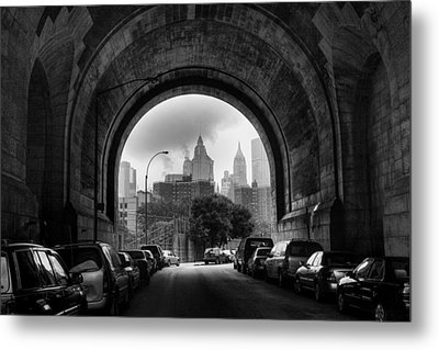 New York City - Manhattan Bridge - Under Metal Print